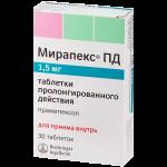 Мирапекс ПД таблетки 1,5мг №30