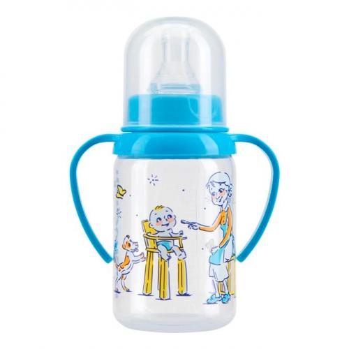 Курносики Бутылочка полипропиленовая с ручкой с силиконовой соской молочной 125мл