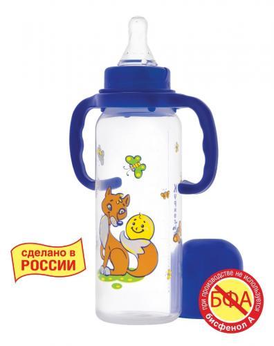 Курносики Бутылочка полипропиленовая с силиконовой соской молочной 250мл