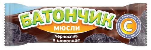 Батончик-мюсли Чернослив в шоколаде 25г