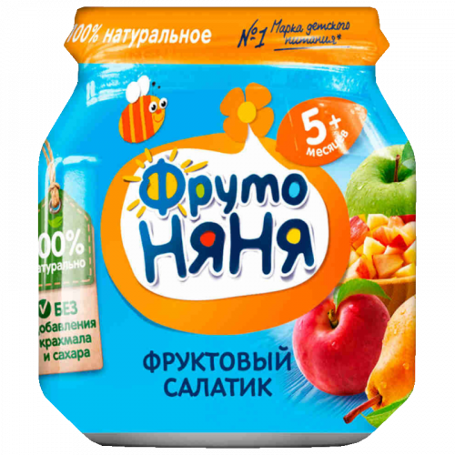 ФрутоНяня Пюре Фруктовый салатик яблоко/груша/персик 100г