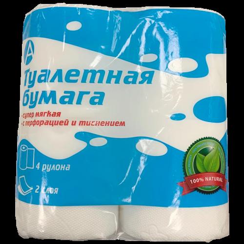 Туалетная бумага 2слойная белая 4шт.