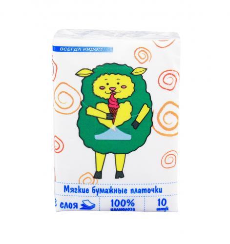 Платочки носовые бумажные 3-слоя детские 10шт