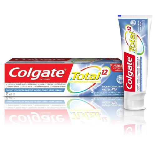 Колгейт Зубная паста Тотал 12 Профессиональная чистка эфект очищения 75мл
