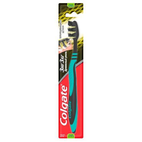 Колгейт Зубная щетка Зиг-Заг древесным углем средней жесткости