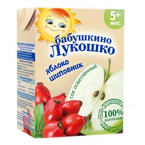 Бабушкино Лукошко Сок яблоко/шиповник осветленный 200г