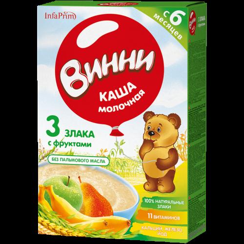 Винни Каша молочная 3 Злака/фрукты 200г