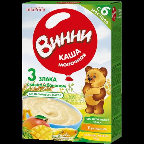 Винни Каша молочная 3 Злака/манго/банан 200г