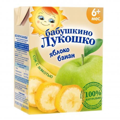 Бабушкино Лукошко Сок яблоко/банан мякоть 200г