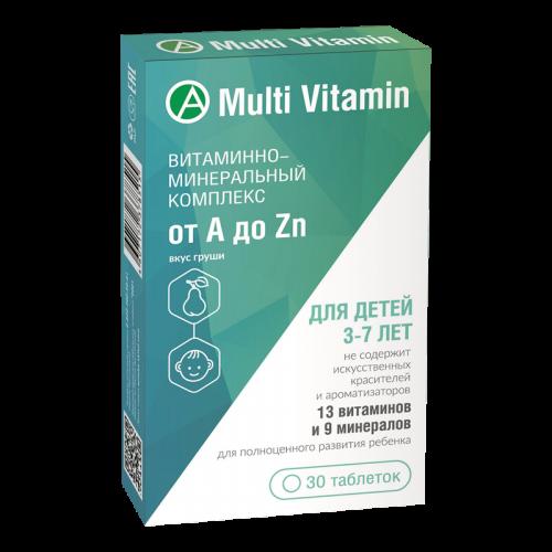 Витаминно-минеральный комплекс от A до Zn для детей 3-7 лет таблетки жевательные №30