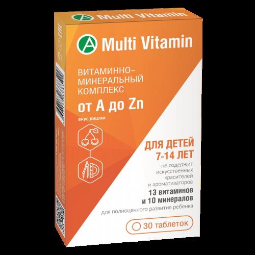 Витаминно-минеральный комплекс от A до Zn для детей 7-14 лет таблетки жевательные №30