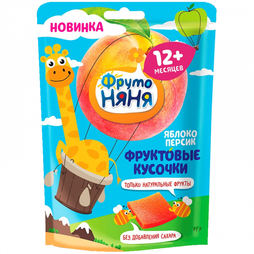 ФрутоНяня Фруктовые кусочки Яблоко/персик 10шт