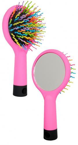 Бьюти Стайл Щетка для волос Цветные зубчики круглая с зеркалом