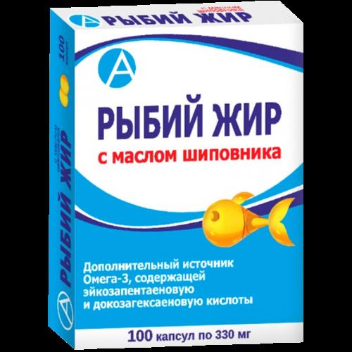 Рыбий жир с маслом шиповника капс. 330мг №100
