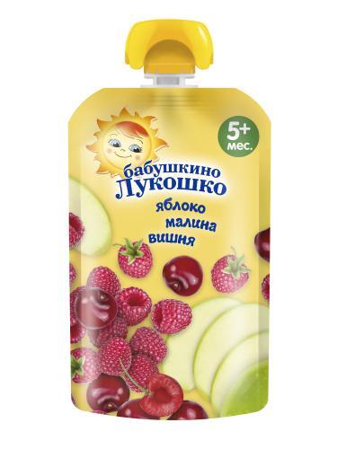Бабушкино Лукошко Пюре яблоко/малина/вишня 90г