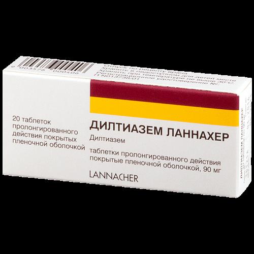 Дилтиазем ретард таблетки 90мг №20