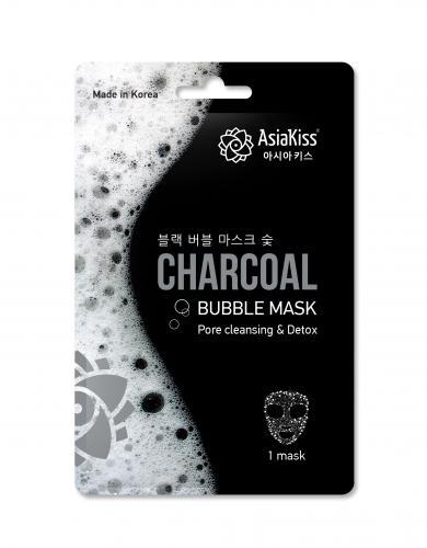 Азия Кисс Черная пузырьковая маска для лица с экстрактом древесного угля