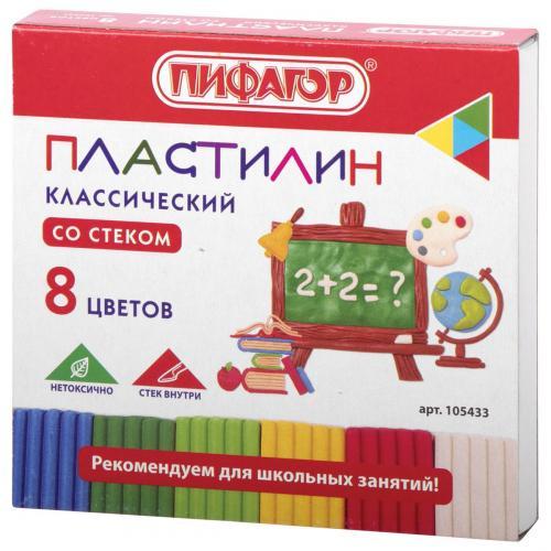 Пластилин 8 цветов 120гр классический Школьный со стеком