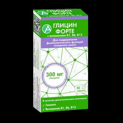 Глицин форте с витаминами В1, В6, В12 таблетки 600мг №30