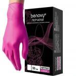 Перчатки смотровые нитриловые нестерильные неопудренные текстурированные Бенови размер М фуксия
