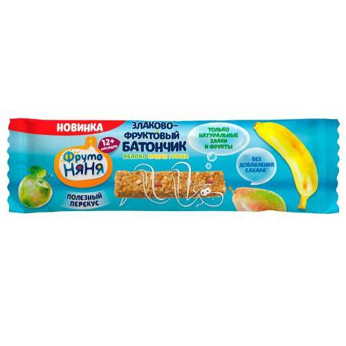 ФрутоНяня Злаково-фруктовый батончик Яблоко/банан/груша 25г