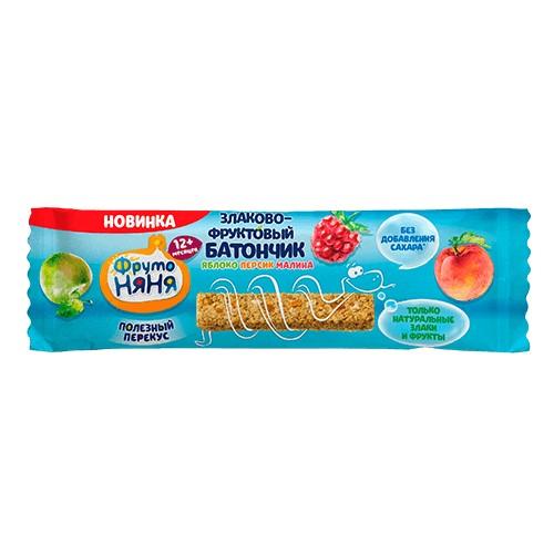 ФрутоНяня Злаково-фруктовый батончик Яблоко/персик/малина 25г