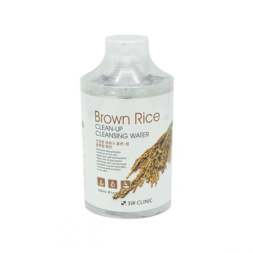 3W CLINIC Очищающая вода для снятия макияжа с экстрактом риса Brown Rice Clean-Up Cleansing Water 500мл