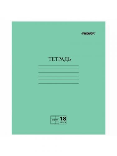 Тетрадь Классика 18л клетка зеленая Пифагор