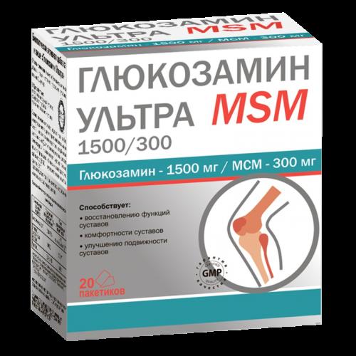 Глюкозамин Ультра MSM 1500/300 порошок 2,5г №20