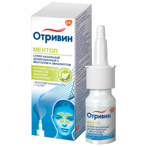 Отривин спрей назальный 0,1% ментол/эвкалипт фл. 10мл