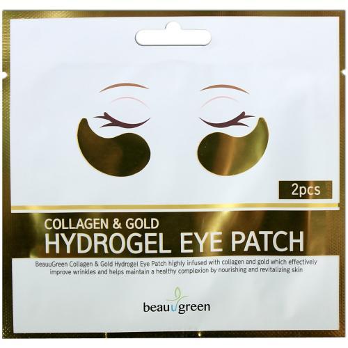 BeauuGreen Патчи для глаз гидрогелевые с коллагеном и коллоидным золотом 2шт
