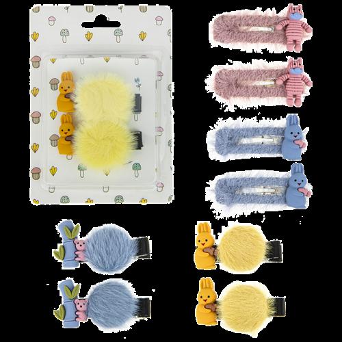 Набор 2 заколочки в ассортименте (зайчик голубой, мишка розовый, зайка желтый, коала синяя) 2шт блистер