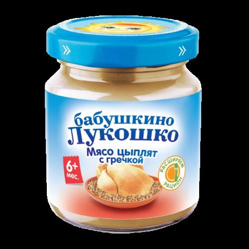 Бабушкино Лукошко Пюре цыпленок/гречка Курочка ряба 100г стекло