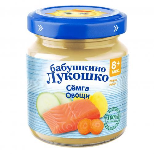 Бабушкино Лукошко Пюре Рагу овощи/семга 100г стекло
